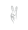 Victory Hand Sign Outline vector image