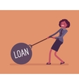 Businesswoman dragging a weight Loan on chain vector image
