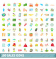 100 sales icons set cartoon style vector image