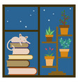 window sill with sleeping cat vector image