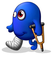 An injured blue monster vector image vector image