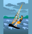 colorful extreme windsurfing sport background vector image