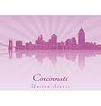 Cincinnati skyline in purple radiant orchid vector image