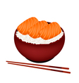 Bowl of Boiled Rice Topping with Salmon vector image vector image