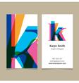 business card letter K vector image