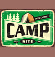 camp site welcome sign vector image