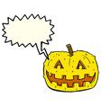 cartoon pumpkin with speech bubble vector image