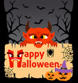 Halloween background card with devil vector image