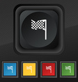 racing flag icon symbol Set of five colorful vector image