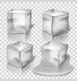 Transparent colorless ice cubes set vector image