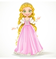 Young princess with long hair in pink dress vector image vector image