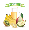 glass with juice kiwi bananas and pear vector image