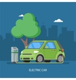 Electric car charging at the charger station vector image