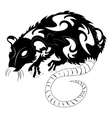 a rat black and white vector image