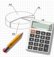 calculator pencil and graph on notebook sheet vector image