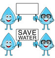 water drop with save water card cartoon vector image