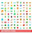 100 tropics icons set cartoon style vector image
