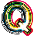 Colorful Grunge font LETTER Q vector image vector image