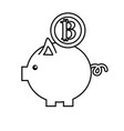 line nice pig to save coin currency broken vector image