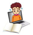 A stressed businessman inside a laptop vector image vector image