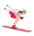 Pin up skiing girl vector image vector image