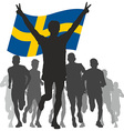 Winner with the Sweden flag at the finish vector image