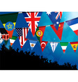 World bunting flags with crowd over blue vector image vector image