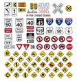set of cartoon road signs in the United States vector image