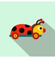 Colored ladybug toy on a wheels flat icon vector image