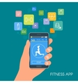 Smart phone sport app with icons Fitness mobile vector image