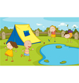 Kids camping vector image vector image