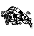 An of a stylised black ram or sheep vector image