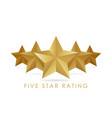 five golden rating star in white background vector image