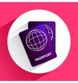 flat passport icon for travel on background vector image