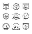 Golf Black White Emblems Set vector image