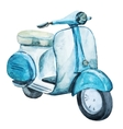 Watercolor vintage scooter vector image
