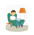 Young Man relaxing on armchair and browsing vector image