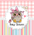 baby shower greeting card with owl vector image