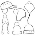 Set of different winter hats vector