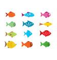 fish icons set vector image vector image