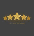 five golden rating star in gray black background vector image