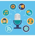podcast concept in flat style vector image vector image