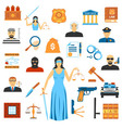 Flat Design Law And Justice Icons vector image