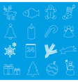 christmas white and blue outline icons collection vector image
