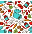 Cooking seamless pattern with ingredients vector image