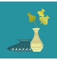 monochrome icon set with vases vector image