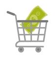 shopping cart online bill money vector image