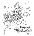 Ghost with the balls - Halloween doodles vector image vector image