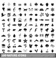 100 nature icons set simple style vector image