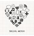 social media icons in heart shape vector image